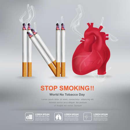 World No Tobacco Day Vector Concept Stop Smoking Ilustrace
