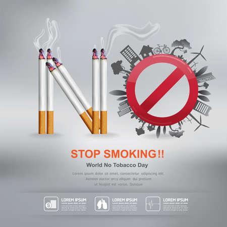 prohibido fumar: Día Mundial Sin Tabaco Vector Concepto Dejar de fumar Vectores