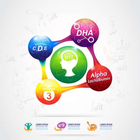Omega and Nutrition Vitamin icon Label Concept Illustration