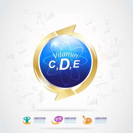 d mark: Omega and Nutrition Vitamin icon Label Concept Illustration