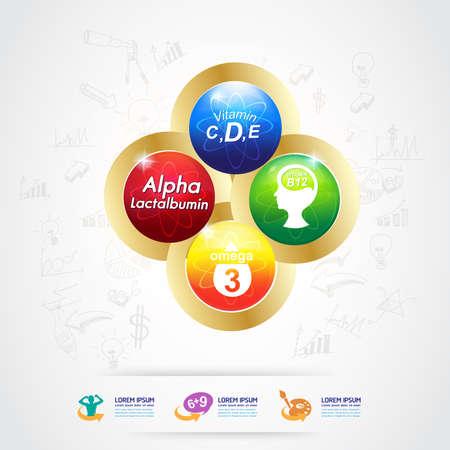 e liquid: Omega and Nutrition Vitamin icon Label Concept Illustration