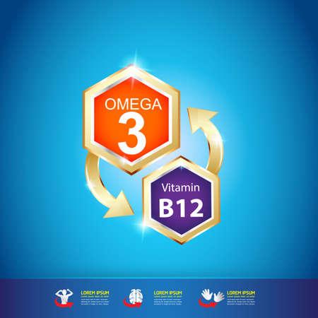 vitamin: Omega and Nutrition Vitamin icon Label Concept Illustration