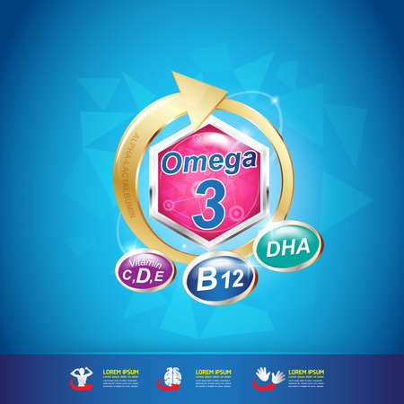 omega: Omega and Nutrition Vitamin icon Label Concept Illustration