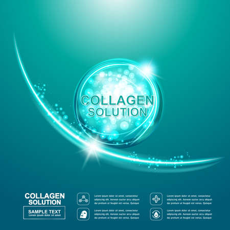 collagen: Collagen Serum and Vitamin Background Concept Skin Care Cosmetic. Illustration