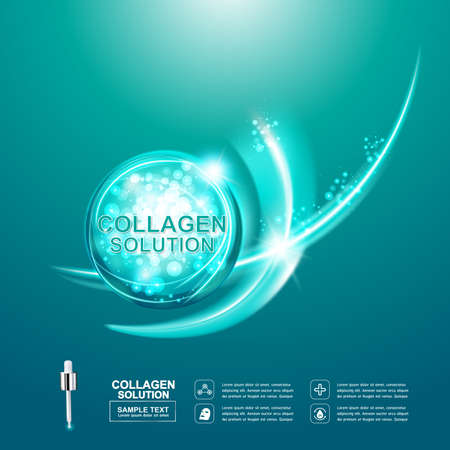 Collagen Serum and Vitamin Background Concept Skin Care Cosmetic. Çizim