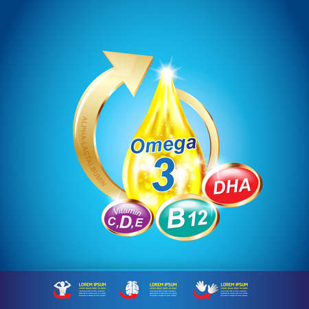 3 d illustrations: Omega 3 Vitamin for Kids Concept