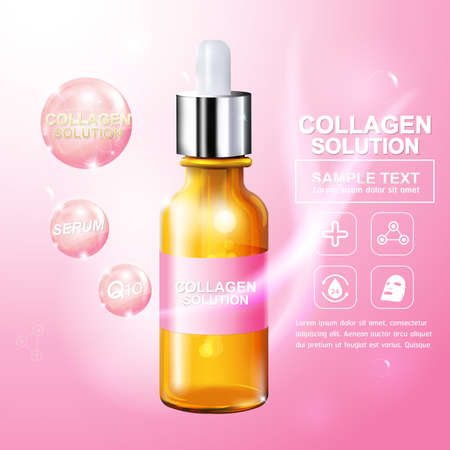 wrinkled face: Collagen Serum and Vitamin Background Concept Skin Care Cosmetic. Illustration
