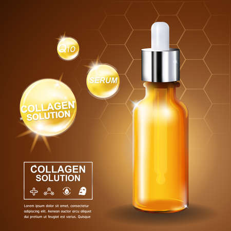 Collagen Serum and Vitamin Background Concept Skin Care Cosmetic.