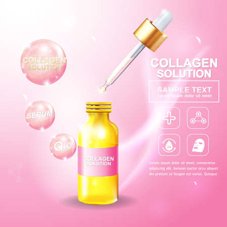 glass bottle: Collagen Serum and Vitamin Background Concept Skin Care Cosmetic. Illustration