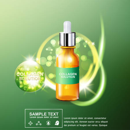 Collagen Serum and Vitamin Background Concept Skin Care Cosmetic. Illustration