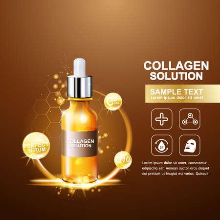piel: Suero de Colágeno y Vitamina Fondo del concepto del Cuidado de la Piel Cosméticos.