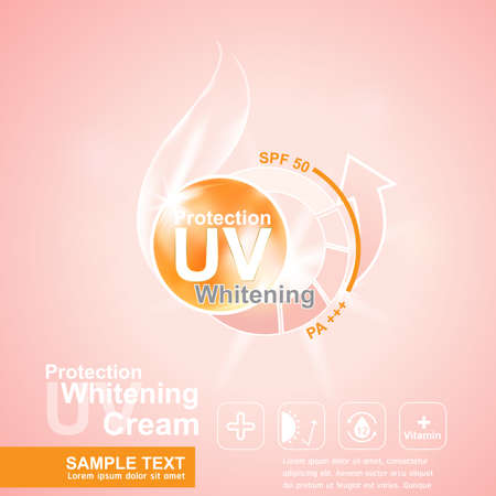 skin cancer: Protection UV and Whitening Cream Skin care concept