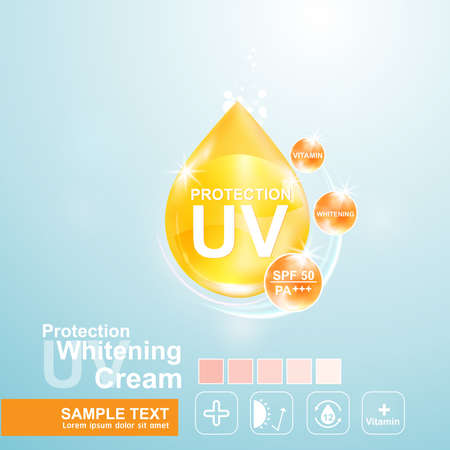 spend the summer: Protection UV and Whitening Cream Skin care concept