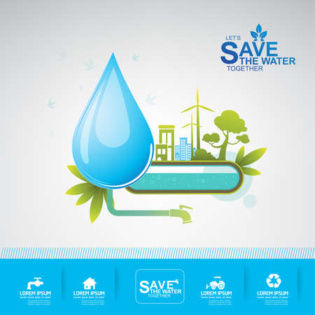 water pipes: save water vector concept ecology