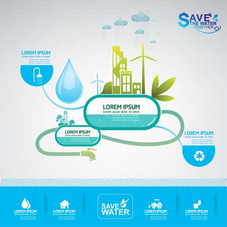 risparmiare acqua vettore concetto di ecologia Vettoriali
