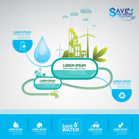Wasser sparen Vektor-Konzept Ökologie Vektorgrafik