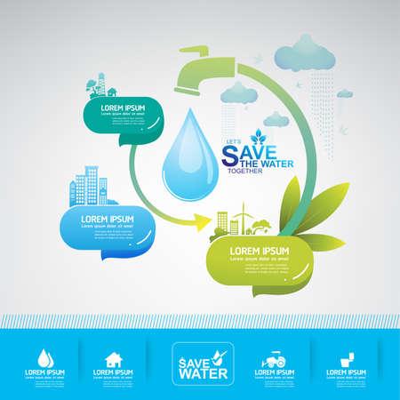 ahorrar agua vector de concepto de la ecología