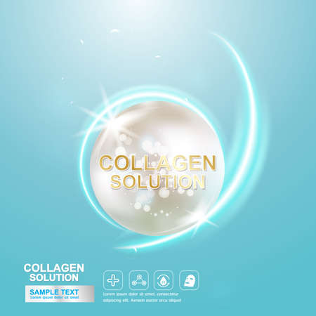 dermatology: Collagen Serum and Vitamin Background Concept Skin Care Cosmetic. Illustration