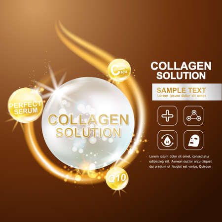 Collagen Serum and Vitamin Background Concept Skin Care Cosmetic. Illusztráció