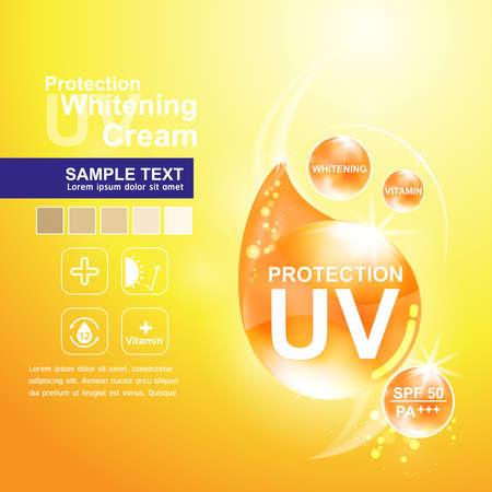 UV-Schutz und Whitening Cream Hautpflege-Konzept Vektorgrafik