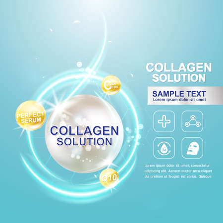 crinkle: Collagen Serum and Vitamin Background Concept Skin Care Cosmetic. Illustration