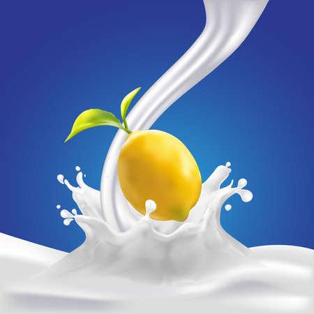 calcium: Milk, yogurt splashing vector concept