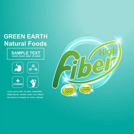La fibra en los alimentos del concepto de vector de etiquetas Ilustración de vector
