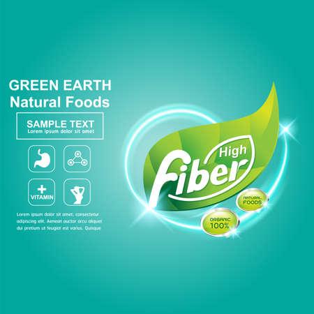 cereales: La fibra en los alimentos del concepto de vector de etiquetas