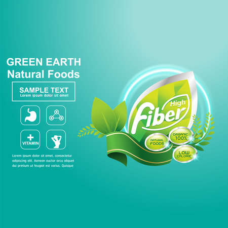 Fiber in Foods Concept Label Vector