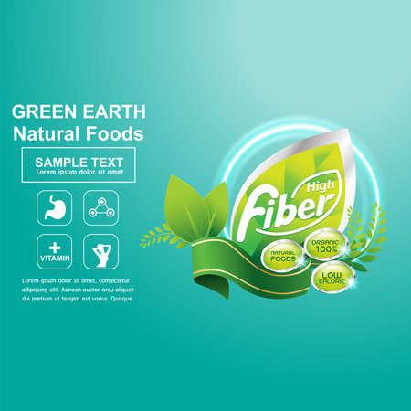 Fiber in Foods Concept Label Vector