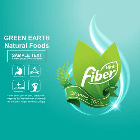 cereal: La fibra en los alimentos del concepto de vector de etiquetas