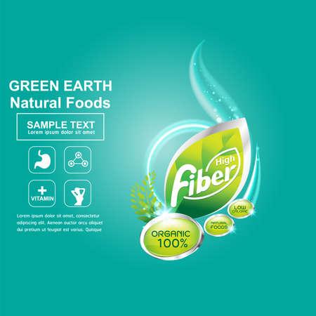 preservatives: Fiber in Foods Concept Label Vector