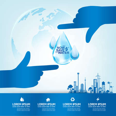 Save Water Vector Concept Save Life.