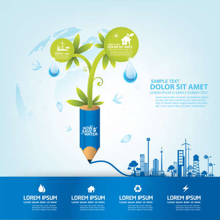 clean off: Save Water Vector Concept Save Life.