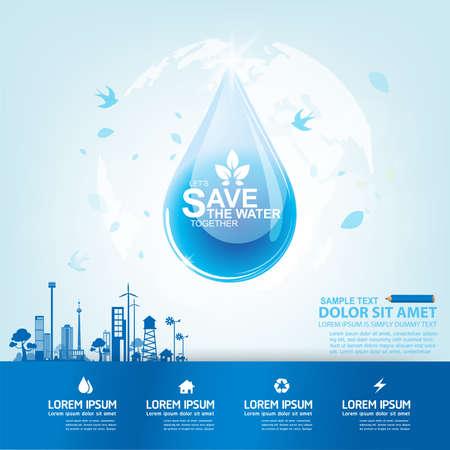 Save Water Vector Concetto salvare la vita.