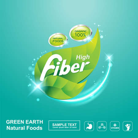 oil crops: Fiber in Foods Concept Label Vector