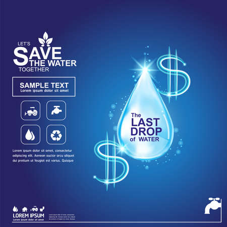 usda: Save Water Vector Concept Save Life.