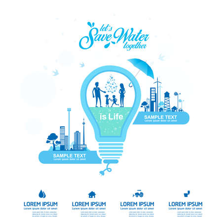 water concept: Save Water Vector Concept Save Life.