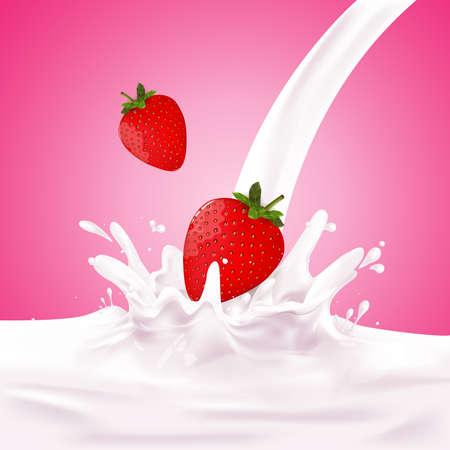 calcium: Milk, soy yogurt splashing vector concept