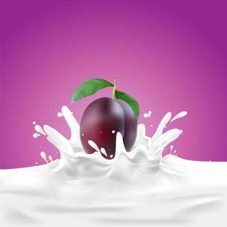 Milk, soy yogurt splashing vector concept