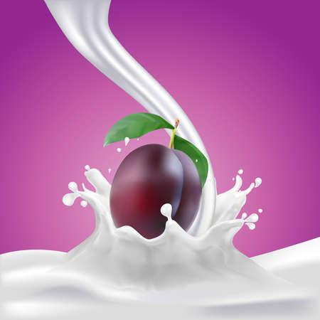 soy bean: Milk, soy yogurt splashing vector concept