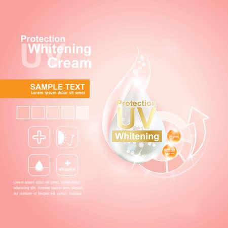 concepto UV protección y el cuidado de la piel que blanquea la crema Ilustración de vector