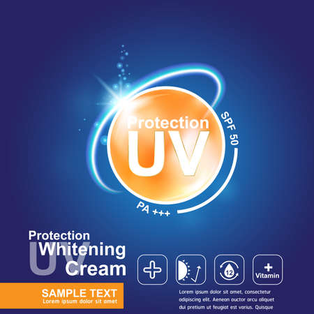 to spend the summer: Protection UV and Whitening Cream Skin care concept