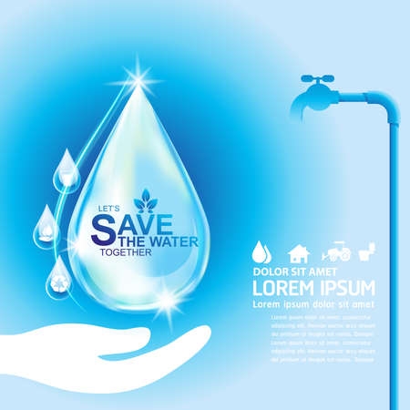 hand water: Save Water Vector Concept Save Life