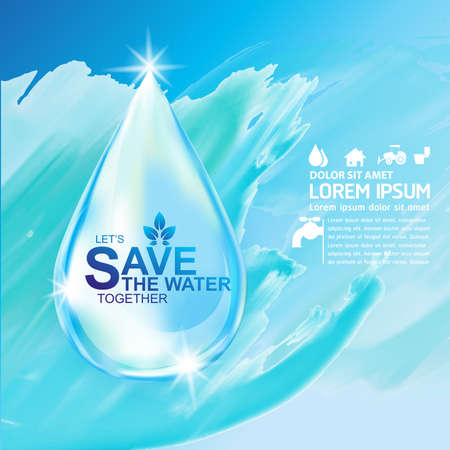 drink water: Save Water Vector Concept Save Life