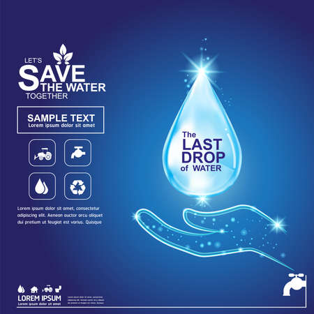 Save Water Vector Concept Save Life