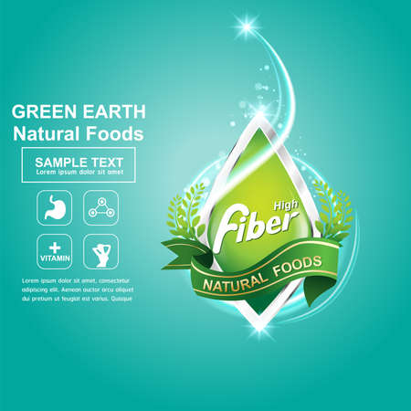 cereal box: Fiber in Foods  and icon Vector