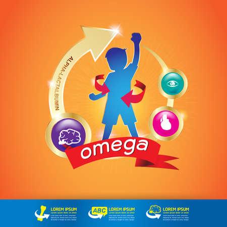 Niños de Calcio y Vitamina Omega - Concepto de oro de los niños