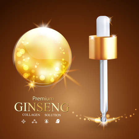 pucker: Collagen Serum Ginseng and Vitamin Background Concept Skin Care Cosmetic.
