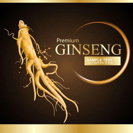 vertical wellness: Ginseng Premium Vector Illustration